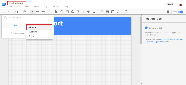 Google Data Studio - Názvy