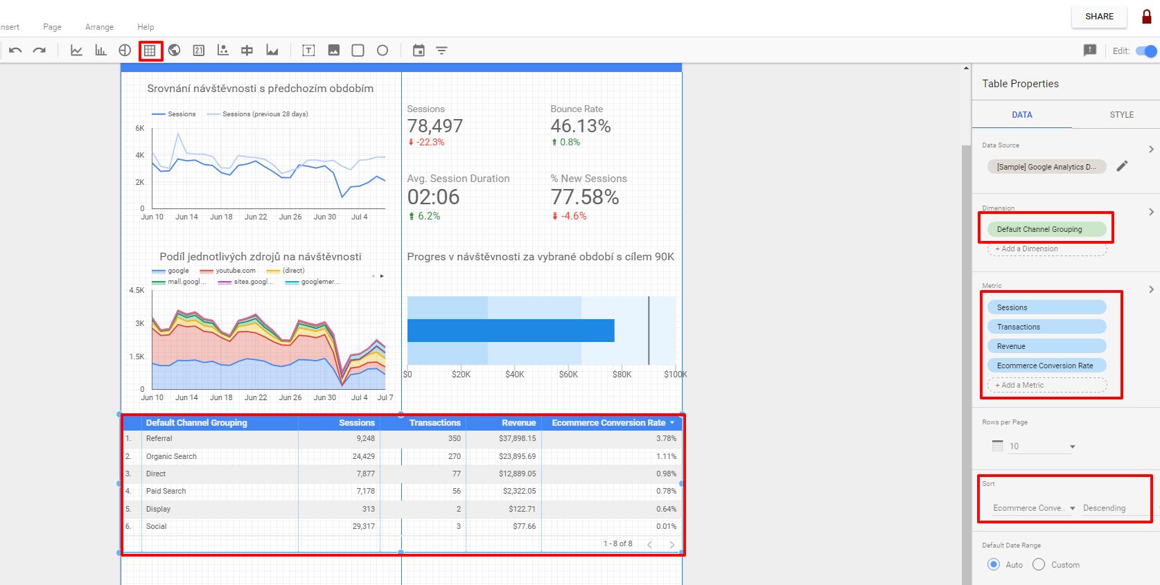 Google Data Studio - Table