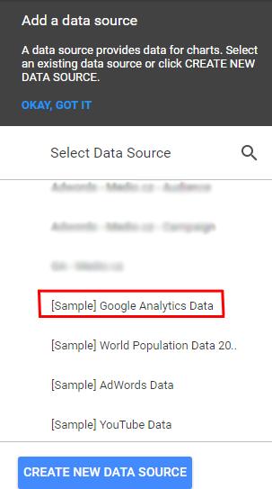 Google Data Studio - Založení reportu