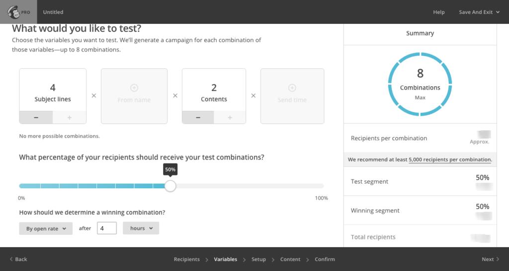 Multivarietní testování v MailChimp PRO