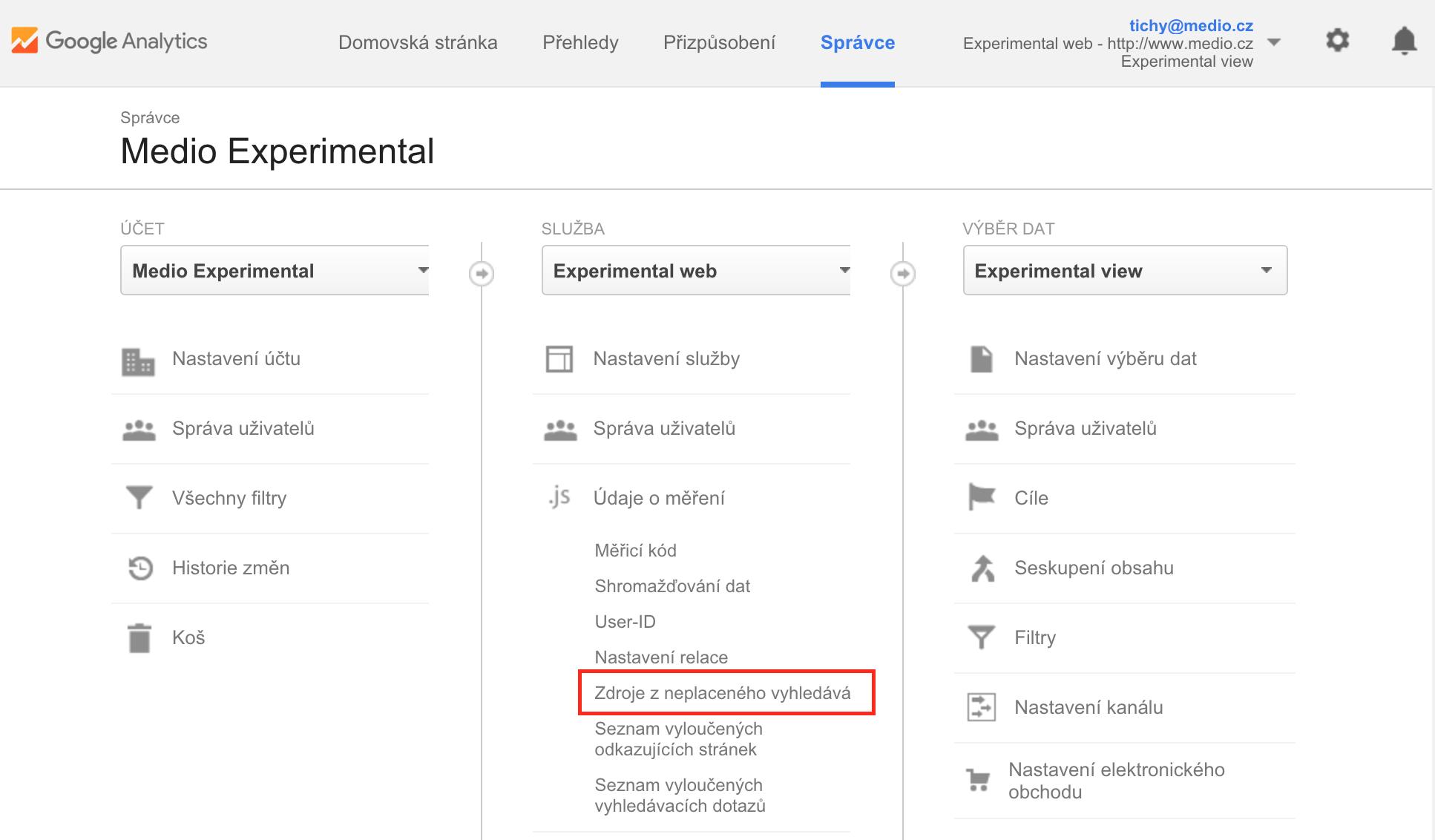 Přidání fulltextových vyhledávačů do Google Analytics