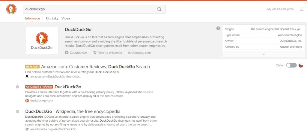 DuckDuckGo SERP a Instant Answers